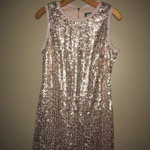 Vince Camuto Rose Gold SEQUIN Dress 10